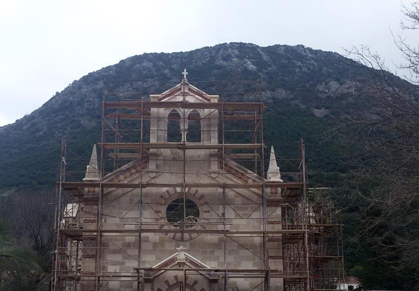 Facade restoration of old church on Brac