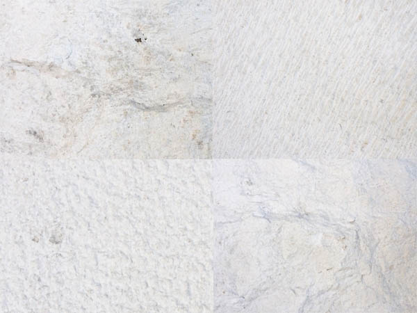 White Brac stone in four different grades. Polished, fine, medium and rough